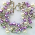 Angel Purple Pearl Glass Bead Cha Cha Charm Bracelet