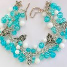 Angel Aqua Blue Crackle Glass Bead Charm Cha Cha Bracelet