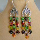 Millefiori Heart Glass Bead Black Red Yellow Green Chandelier Earrings