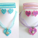 Plastic Canvas ribbon blue aqua pink purple heart cat barrette earrings pendant