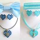 Plastic Canvas blue butterfly & aqua dog ribbon earrings bow barrette pendant