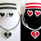 Plastic Canvas red love & black clover charm ribbon earrings barrette pendant