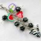Vegetarian Zipper Purse Charm Letter V Fruit Apple Strawberry Black Bead