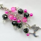 Poodle Dog Zipper Purse Charm Pink Black Glass Crystal Bead