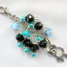 Cat Zipper Purse Charm Blue Aqua Flower Black Crystal Bead