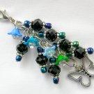 Butterfly Blue Flower Zipper Purse Charm Black Crystal Bead