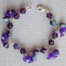 Bell Flower Purple AB Iridescent Bicone Bead Bracelet