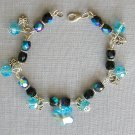 Aqua Butterfly Blue and Black AB Iridescent Crystal Bracelet