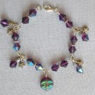 Purple Iridescent AB Czech Moon & Star Celestial Crystal Bead Bracelet