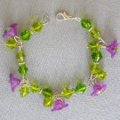 Purple Bell Flower Peridot Green Color Bicone Bead Bracelet