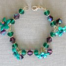 Teal Green Flower and Purple Crystal Glass Bead Bracelet