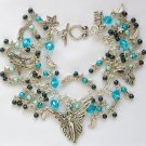 Angel Fairy Stars Crescent Moon Black Aqua Blue Celestial Charm Bracelet