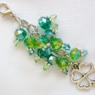 Four Leaf Clover Zipper Purse Charm Green Crystal Bead
