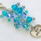 Girl Friends Zipper Purse Charm Aqua Blue Crystal Bead BFF