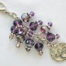 Dog Days Paw Zipper Purse Charm Purple Crystal Bead