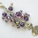 Kitty Cat Purple Crystal Bead Zipper Pull Purse Charm