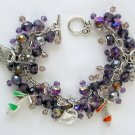 High Heel Shoe Shopping Purple Crystal Bead Charm Bracelet
