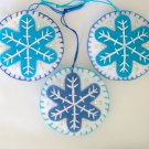 Felt snowflake Christmas Frozen ornament aqua and blue on white