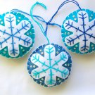 Felt snowflake Christmas Frozen ornament white on aqua & blue