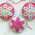 Felt peace sign snowflake ornament pink white tie dye variegated