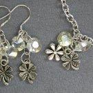 Clover Flower Charm Diamond Crystal Bead Silver Chain Bracelet