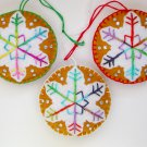 Felt snowflake ornament  brown white rainbow colorful lot