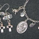 St Francis of Assisi Medal Dog & Cross Charm Bracelet Earrings