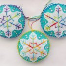 Felt snowflake ornament tie dye light aqua white lot