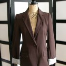 Vixen dark brown blazer jacket cuffed pinstripe medium