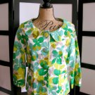 NWOT Josephine green lime brown leaf 3/4 sleeve jacket size 6