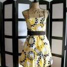 Taboo yellow brown floral spaghetti strap bubble dress 7/8