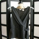 Covington black white polka dot empire cross over sleeveless top small