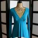 LL aqua blue babydoll empire long sleeve asymmetrical top small
