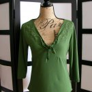 Merona green V-neck empire 3/4 sleeve top small