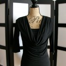 Sushi Flower black draping cowl 3/4 sleeve top small