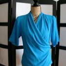 Anne Klein retro blue draped wrap short sleeve top size 4