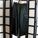 Nine West black satin floral embroidery gaucho dress pants size 4