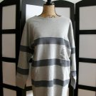 Hasting and Smith gray grey stripe knit long sleeve top medium