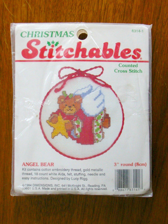 Dimensions Christmas Stitchables Angel Bear cross stitch kit jingle bell santa ornament