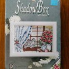 Shadow Box Cat flower counted cross stitch kit frame by Designs for the Needle Inc # 7508