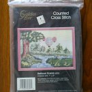 Golden Bee Hot Air Balloon tree landscape counted cross stitch kit # 60353