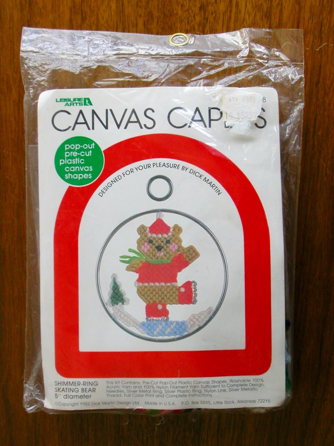 Leisure Arts Canvas Capers skating bear ornament plastic canvas kit
