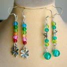 Rainbow Clover and Green Dragonfly Crackle Bead Earrings 2 Pair Charm Pendant