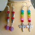 Red Ladybug and Rainbow Dragonfly Bead 2 Pair Earrings Lot
