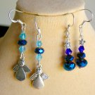Angel Charm and Tree Blue Aqua Iridescent Crystal Bead Earrings 2 Pair