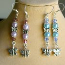 Butterfly Silver Bead Light Purple & Baby Blue Earrings 2 Pair Lot