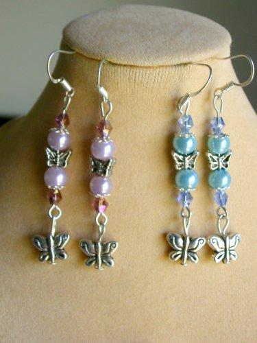 Butterfly Silver Bead Light Purple & Baby Blue Earrings 2 Pair Lot