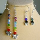 Butterfly Crystal Bicone Bead Rainbow Chakra Earrings 2 Pair Lot
