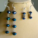 Blue Peacock AB Crystal Linear Flower Bead Earrings 2 Pair