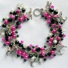 Poodle Dog Retro 1950's Bright Pink Black Bead Cha Cha Charm Bracelet